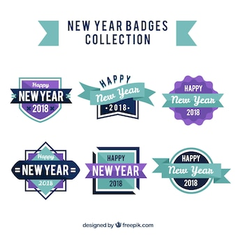 New year 2018 badge collection in purple and blue