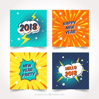 new year 2018 cards with comic design