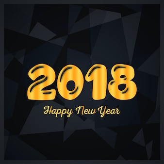 황금 편지와 함께 새 해 2018 디자인