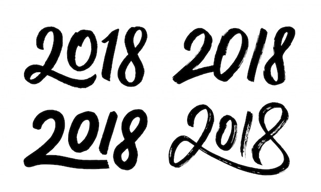 New year 2018 hand drawn numbers set