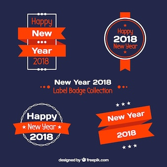 Collezione di distintivi dell'etichetta 2018 del nuovo anno in blu scuro e rosso