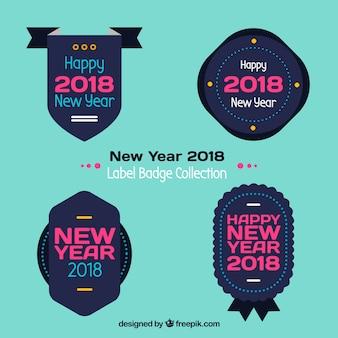 青とピンクの新年2018年ラベルバッジコレクション