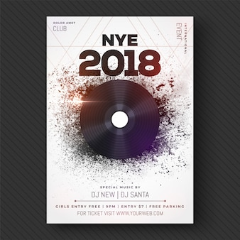 New year 2018 musical party, banner, poster or flyer design.