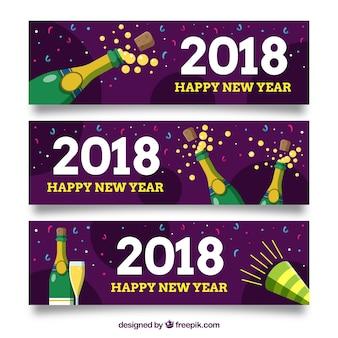 Anno nuovo 2018 banner festa con champagne