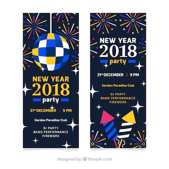 New year 2018 party banners with disco ball