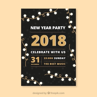 Manifesto del partito di nuovo anno 2018 con luci stringa