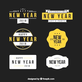 new year 2018 stickers collection in black white and yellow