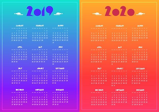 Новый год 2019 и 2020 календарь современный яркий синий, фиолетовый, красный, оранжевый градиент