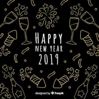 New year 2019 background in hand drawn design