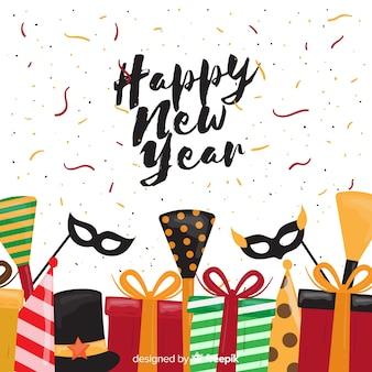 Новый год 2019 фон в рисованной дизайн