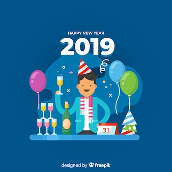 New year 2019 background with man