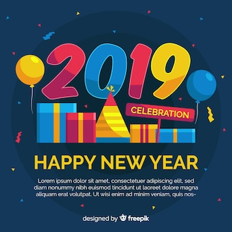 New year 2019 background Free Vector