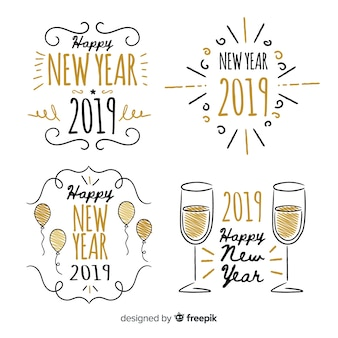 New year 2019 badge collection