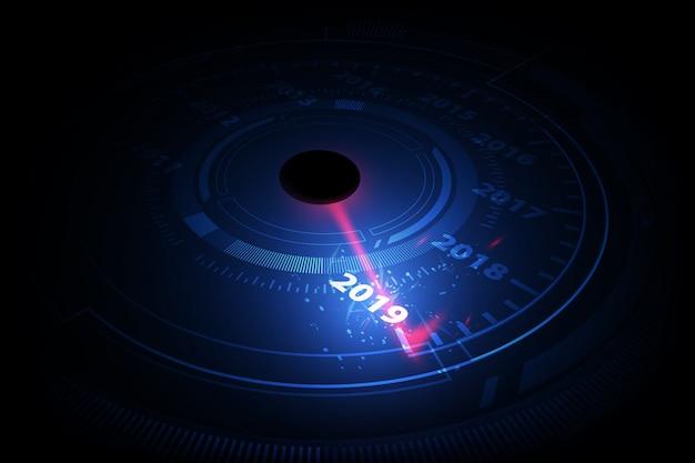 New year 2019 car speedometer