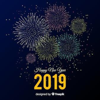 불꽃 놀이 함께 새 해 2019 구성