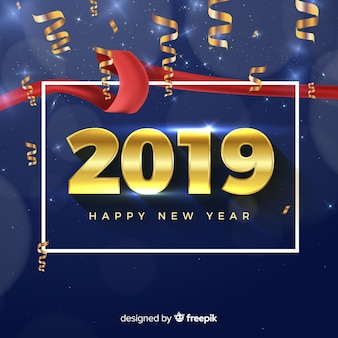 New year 2019 composition with golden style
