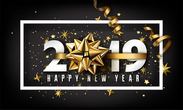 New year 2019 creative background with bow