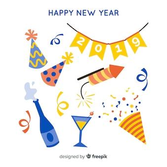 New year 2019 decoration set