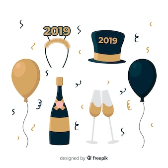 New year 2019 decoration set