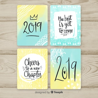 New year 2019 greeting cards set
