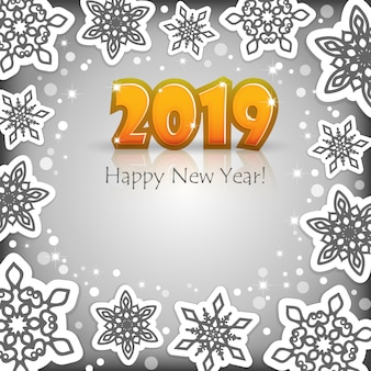 New year 2019 grey background