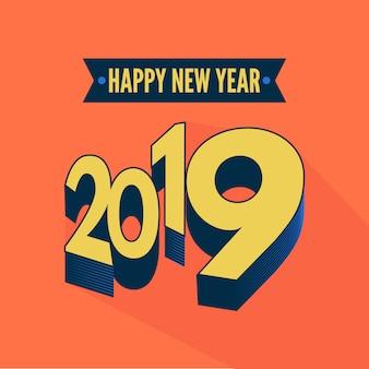 Новый год 2019 в 3d-дизайне с белым цветным фоном