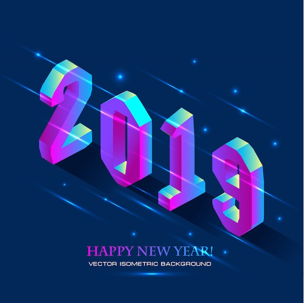 New year 2019 in isometric style. vector isometric illustration of number 2019 in bright g