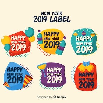 New year 2019 label collection
