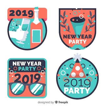 New year 2019 labels set