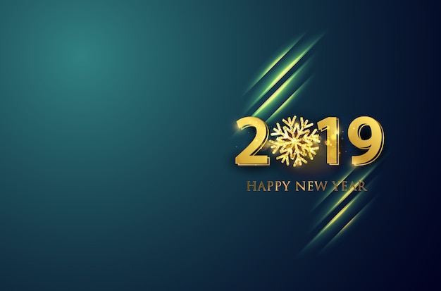 New year 2019 line vector background