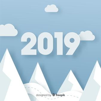 New year 2019 papercut background