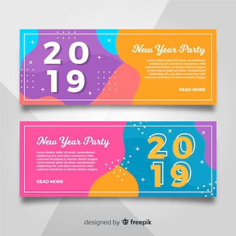New year 2019 party banners