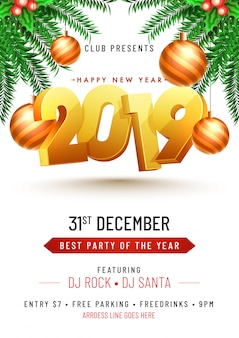 New year 2019 party concept.