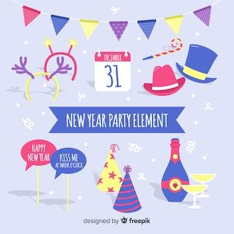 Set di elementi del nuovo anno 2019 partito