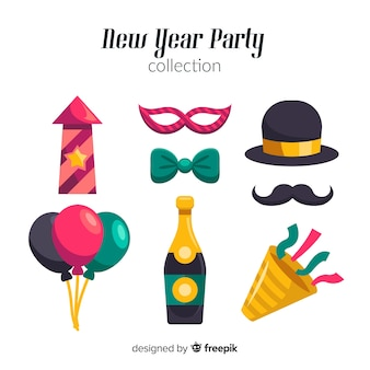 New year 2019 party elements set