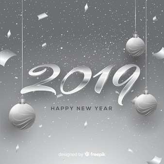New year 2019 silver background