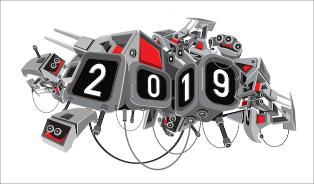 New year 2019 text with digital sci-fi robotic background