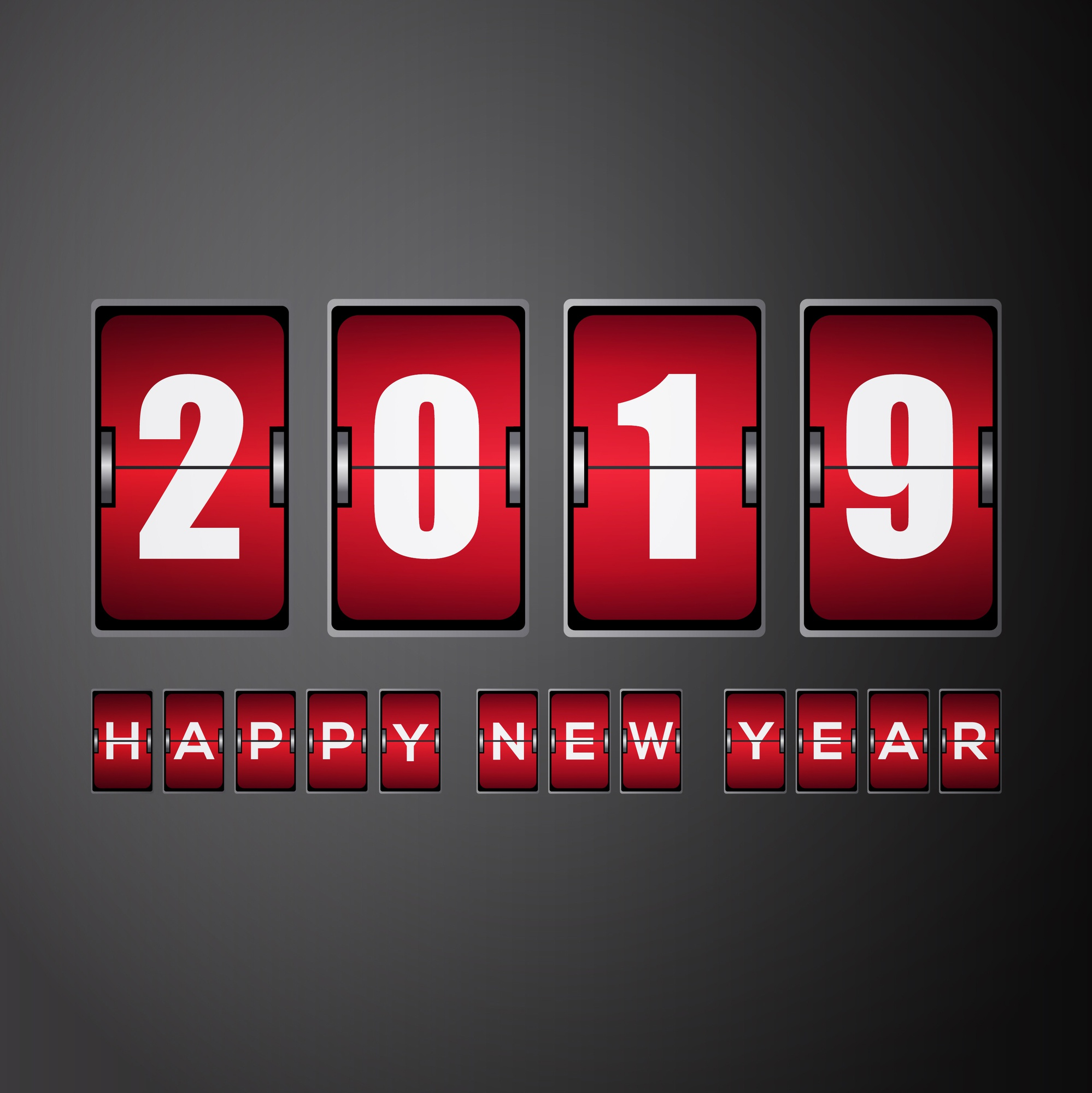 New year 2019 with analog flip clock red
