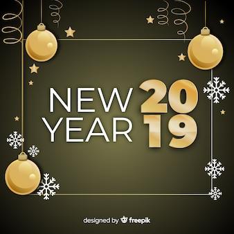 Новый год 2019 с золотыми шарами фон