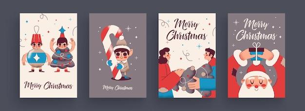 Коллекция поздравительных открыток с новым 2020 годом и рождеством симпатичные праздничные тематические атрибуты и ситуации