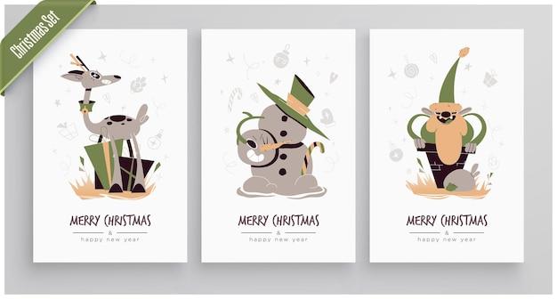 Коллекция поздравительных открыток с новым 2020 годом и рождеством. симпатичные праздничные персонажи и ситуации