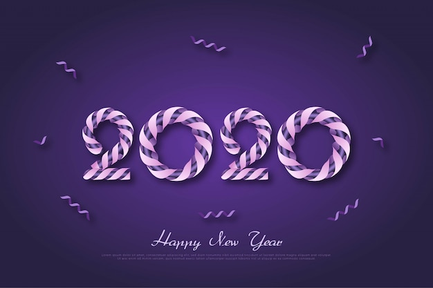 New year 2020 anniversary background with purple ribbon