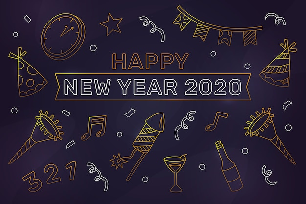 New year 2020 background concept in outline style