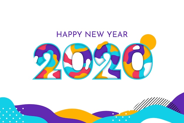 New year 2020 background flat design