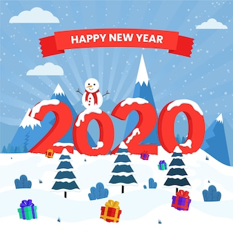 New year 2020 background in flat design
