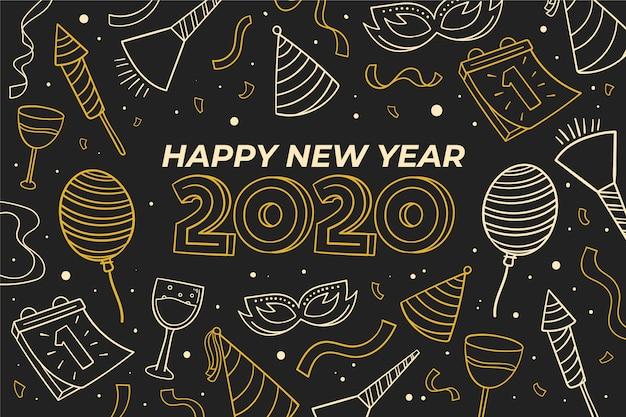 アウトラインスタイルの新年2020年背景