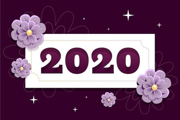紙のスタイルで新年2020年背景