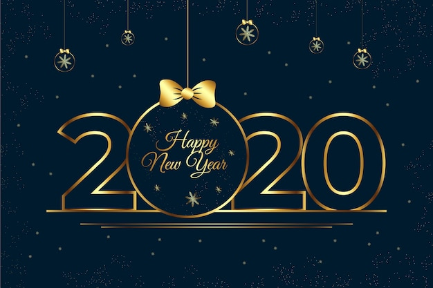 New year 2020 background in outline style concept