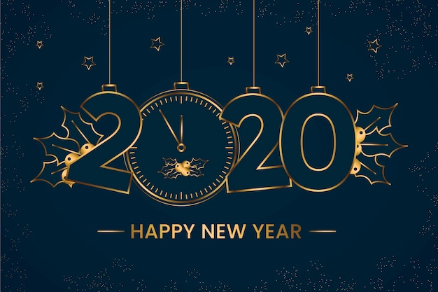 New year 2020 background in outline style design