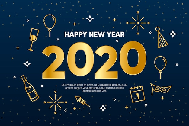 New year 2020 background in outline style